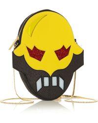 Stella McCartney Superhero Snake-Effect Faux Leather Shoulder Bag - Yellow