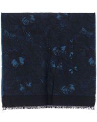 Valentino | Wool And Silk Chevron Deep Blue Camubutterfly Scarf | Lyst