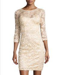 Sue Wong Illusion Floral Applique Dress - Lyst