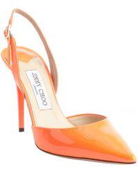 Jimmy Choo Neon Flame Orange Patent Leather Pointed Toe 'Tarida' Sling Backs - Lyst