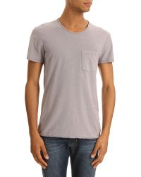 American Vintage Grey Tshirt with Pocket and Devore Collar - Lyst
