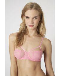 Topshop Pink Underwire Bra - Lyst