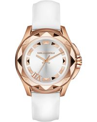 Karl Lagerfeld Ladies Karl 7 Rose Gold Tone Pyramid Stud And Patent Leather Watch - Lyst