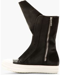 Rick Owens Black Leather Ramones Boots - Lyst