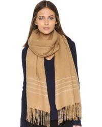 Rag & Bone | Brushed Stripe Scarf - Camel | Lyst