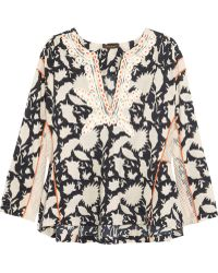 Vineet Bahl Embroidered Printed Cottonblend Top - Natural