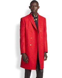 Versace Doublebreasted Stretch Wool Topcoat - Lyst