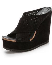 Pedro Garcia Tibby Platform Wedge Sandals - Black - Lyst
