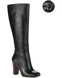 424 Fifth Kamille Leather Knee-High Boots - Black