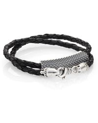 King Baby Studio Beaded Double-Wrap Leather Bracelet black - Lyst