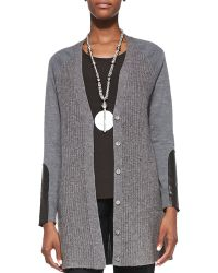 Eileen Fisher Long Leather-patch Cardigan - Lyst