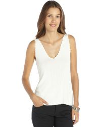 Theyskens' Theory Off White Stretch Jagged Edge V-neck Tank - Lyst