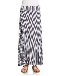 Bobeau - Chevron Print Maxi Skirt - Lyst