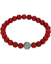 John Hardy Large Coral Beaded Bracelet With Magnetic Clasp - Lyst