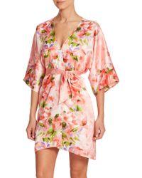 Oscar de la Renta Garden Party Floral Satin Robe multicolor - Lyst