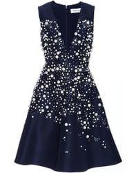 Prabal Gurung - Navy Silk Pearl Embellished Party Dress - Lyst