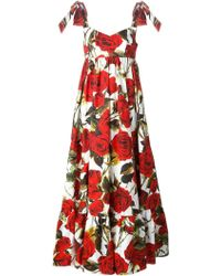 Dolce & Gabbana Rose Print Gown pink - Lyst