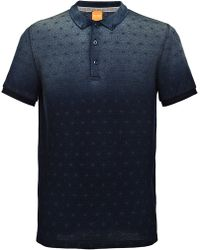 BOSS Orange Cotton Polo Shirt With A Graphic Star Print: 'pachouly' - Blue
