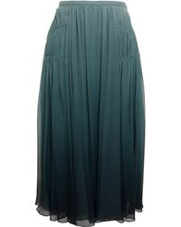 Burberry Prorsum Pleated Degrade Silk Skirt - Lyst