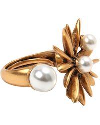 Oscar de la Renta Russian Gold And Pearl Starburst Ring Russian Gold And Pearl Starburst Ring - Lyst