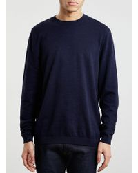 LAC Navy/Bk Cotton Twist Crew Neck Jumper - Lyst