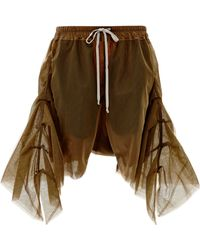 Rick Owens Frilled Shorts in Mustard Tulle - Lyst