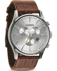 Nixon The Sentry Chrono Alligator-embossed Leather Strap Watch 42mm - Lyst