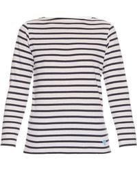 Orcival - Breton-stripe Cotton And Silk-blend Top - Lyst