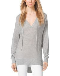Michael Kors Hooded Cashmere Sweater - Lyst