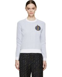 Kenzo White And Blue Knit Crest Sweater - Lyst