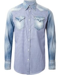 DSquared2 Gingham and Denim Mix Shirt - Lyst