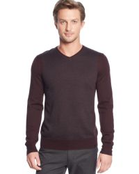 Calvin Klein Merino Wool-blend Blocked V-neck Sweater - Lyst