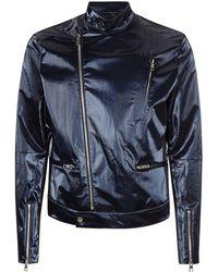 Juun.J Metallic Biker Jacket - Lyst