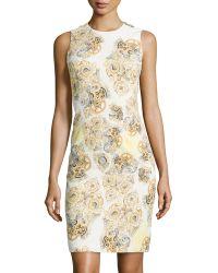 Versace Sleeveless Print Sheath Dress floral - Lyst