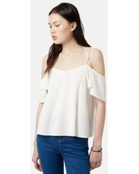Topshop Tie Strap Cold Shoulder Top beige - Lyst