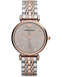 Emporio Armani Round Two Tone Watch, 31Mm - Lyst