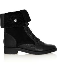 Diane von Furstenberg Alexia Too Texturedleather Suede and Shearling Ankle Boots - Lyst