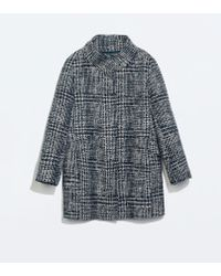 Zara Houndstooth Wool Coat - Lyst