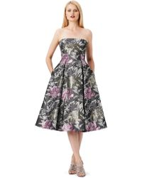 Adrianna Papell Floral Jacquard Strapless A-Line Dress - Lyst