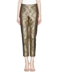 St. John 'Emma' Metallic Floral Lace Cropped Pants - Lyst