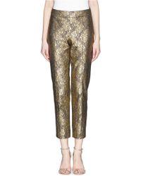St. John 'Emma' Metallic Floral Lace Cropped Pants - Lyst
