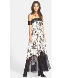 Free People Off The Shoulder Hibiscus Print Maxi Dress white - Lyst