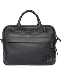 Giorgio Armani - Hammered Leather Briefcase - Lyst
