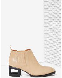 Nasty Gal Metcalf Block Boot - Beige Leather - Lyst