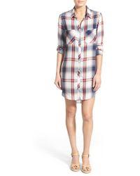 Side Stitch Plaid Shirtdress - Multicolour