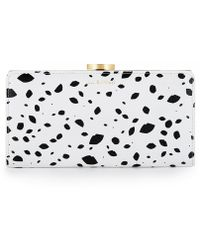 Lulu Guinness Cut Out Spot Grainy Leather Flat Frame Purse - Lyst