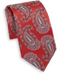 Samuelsohn Large Paisley Teardrop Silk Tie - Red