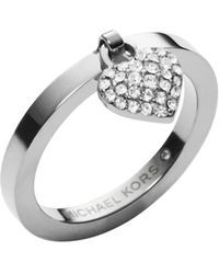 Michael Kors Pavé-embellished Silver-tone Ring - Lyst