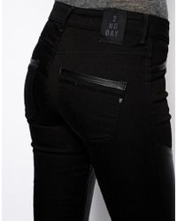 2nd Day Jolie Pelt Jeans with Leather Inserts - Black