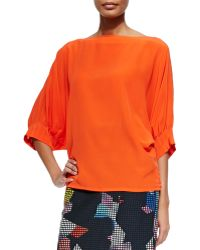 Trina Turk Garland Pleated-sleeve Silk Top - Lyst